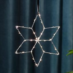 Star LED-Leuchstern Lolly, 28 cm, Metall, silber