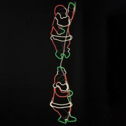 Star Neon-LED-Silhouette Santas, 39x2x180cm, Metall, bunt