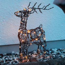LED-Outdoor-Rattan-Rentier Lotti, 12x36x55 cm, Metallgestell, braun