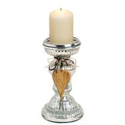 Kerzenhalter mit Dekoherz, groß,11x11x21cm, Glas, silber