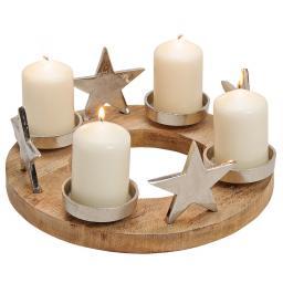 Adventskranz mit Sternen, 30x30x13cm, Holz, natur