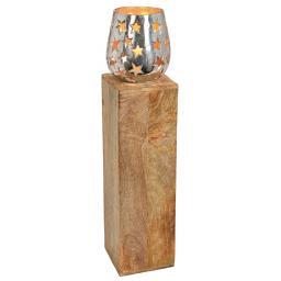 Windlichtsäule mit Sternendekor, 67x15x15 cm, Holz und Metall, natur silber