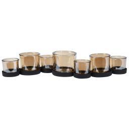 Windlicht Amber, 50x12x14cm, Metall und Glas, schwarz bernstein