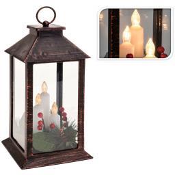 LED-Laterne Weihnachtszeit, 29x14x14 cm, Kunststoff und Glas, schwarz gold