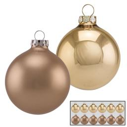 Christbaumkugeln 12er Set, 6 cm, Glas, gold