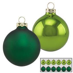 Christbaumkugeln 12er Set, 6 cm, Glas, grün