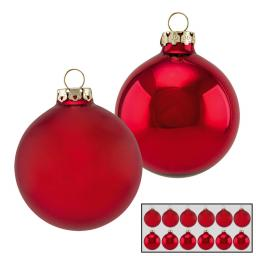 Christbaumkugeln 12er Set, 6 cm, Glas, rot