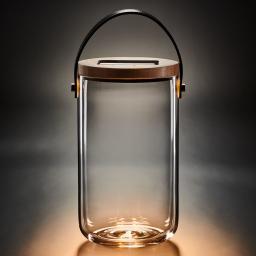 Deko Glas Long, 25,5x14,5x14,5 cm, Glas, Bambus, klar