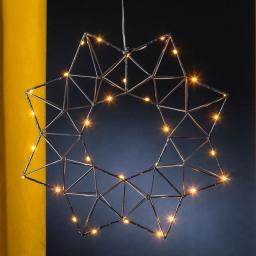 Star LED-Leuchtstern Modern Christmas, 38x38x7 cm, Metall, schwarz
