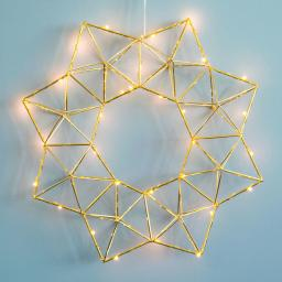 Star LED-Leuchtstern Modern Christmas, 38x38x7 cm, Metall, messing