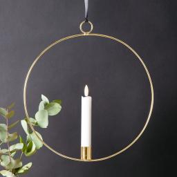 Star LED-Fensterdeko Flammenring, 30x28x2 cm, Metall und Wachs, silber