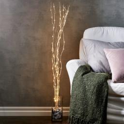 LED-Weidendeko, 115x10x10 cm, Holz, weiß