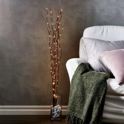 LED-Weidendeko, 115x10x10 cm, Holz, braun
