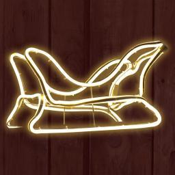 Neon-LED-Schlitten, 45x21x26 cm, Metall, weiß