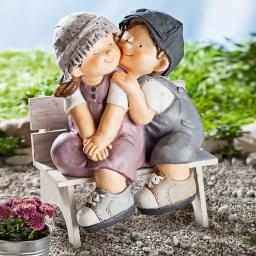 Dekofigur Emma und Olli auf Bank, 2-teilig, aus Kunststein, 32x24,5x42 cm