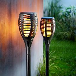 Solar Gartenstecker Flame 2er-Set, Flammeneffekt durch 51 LEDs,47 cm, Erdspieß ca. 11 cm