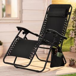 Rocking Chair, stufenlos verstellbar, 173x64x110 cm, aus Kunststoff und Metall