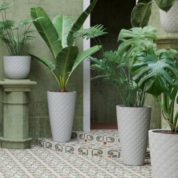 Vase Havana Tropical, 70 cm, Ø 40 cm, 56 Liter, Kunststoff, grau