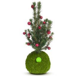 Kibonu Weihnachtsbäumchen mit rote Kugeln, Mooskugel Durchmesser 10-11 cm