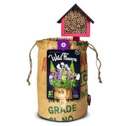 BIO Wildblumen mit Insektenhotel - VIOLETT