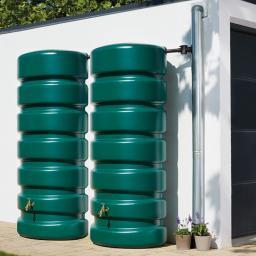 Regentank-Set 2 x 650 L, grün