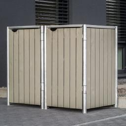 Mülltonnenbox 140l Holz, 2er Box, Natur grau