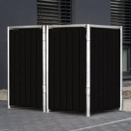 Mülltonnenbox 240l Kunststoff, 2er Box, schwarz