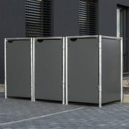 Mülltonnenbox 140l Kunststoff, 3er Box, grau