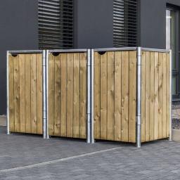 Mülltonnenbox 140l Holz, 3er Box, Natur
