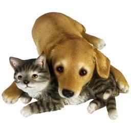 Gartenfigur Süße Freunde, Hund und Katze, ca. 40x40x12 cm