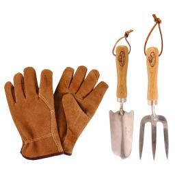 Gartenwerkzeug-Set, Hobbygärtner, Eschenholzstiel, Edelstahl, inkl. Lederhandschuhen