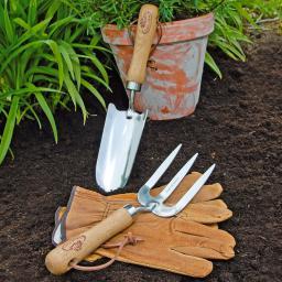 Gartenwerkzeug-Set, Hobbygärtner, Eschenholzstiel, Edelstahl, mit Lederhandschuhen