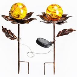 Solar-Gartenstecker Blume, 2er-Set