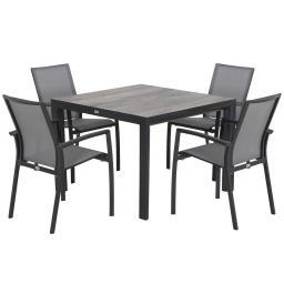 Gartenmöbel-Set Velia mit 4 Stapelstühlen und 1 quadratischer Tisch