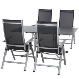 Gartenmöbel-Set Argos mit 4 Klappsesseln und 1 Aluminium-Klapptisch (160x90 cm)