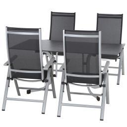 Gartenmöbel-Set Argos mit 4 Klappsesseln und 1 Aluminium-Tisch (160x90 cm)