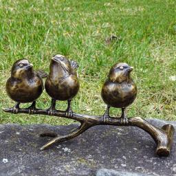 Bronze-Figuren Drei Spatzen auf Ast