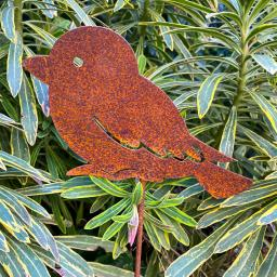 Gartenstecker Spatz Linus, Edelrost, ca. 45 cm