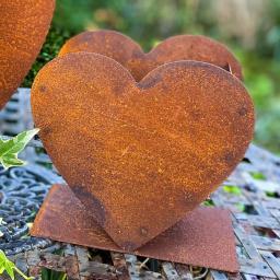Pflanzschale Herz Valentin, Edelrost, ca. 17 cm