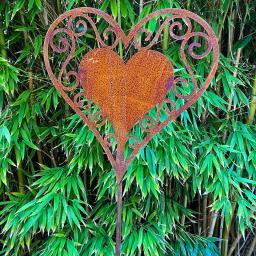 Gartenstecker Herzblatt , Edelrost, 130 cm