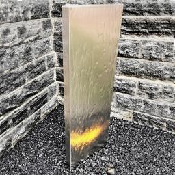 Wasserwand Husum klein Edelstahl matt, mit Zubehör & Becken, 130x45x6cm
