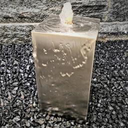 Säulenbrunnen eckig Edelstahl matt, mit Zubehör, 40x20x20cm