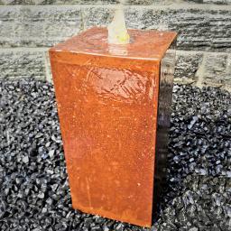 Säulenbrunnen Cortenstahl eckig, mit Zubehör, 40/20/20cm