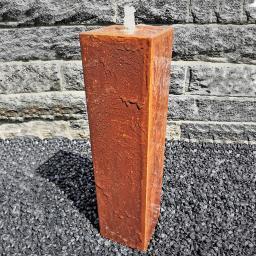 Säulenbrunnen Cortenstahl eckig, mit Zubehör & Becken, 80/20/20cm