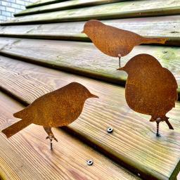 Rostdeko Vögel mit Schraubgewinde, Edelrost