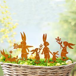 Dekostecker Hasenfamilie, Edelrost, 5-teilig