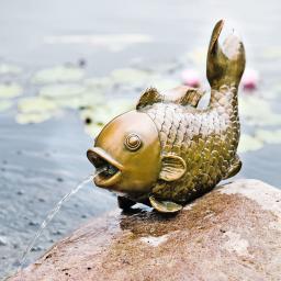Wasserspiel Fisch, Bronzeoptik, L 43 cm
