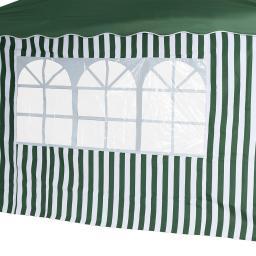 2 Seitenteile für Faltpavillon Classic, mit und ohne Fenster, grün/weiß