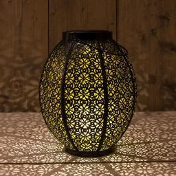 Solar Lanterne, Metall, 19,5x23,5 cm, schwarz