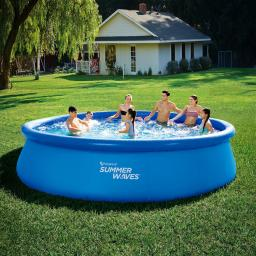 QuickUp-Pool Rund mit Filterpumpe, 457 x 107cm, blau